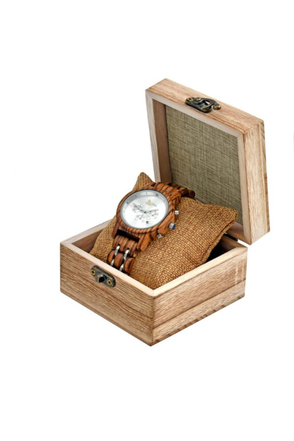 Tocco - Ebony Silver női fa óra dobozban